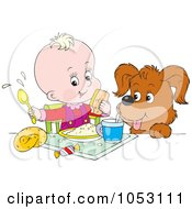 Royalty Free Vector Clip Art Illustration Of A Dog Watching A Baby Eat A Meal by Alex Bannykh