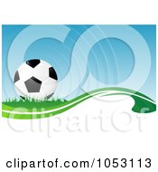Royalty Free 3d Vector Clip Art Illustration Of A 3d Soccer Ball Background by MilsiArt