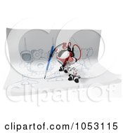 Royalty Free 3d Clip Art Illustration Of A 3d Web Crawler Robot Cam Drawing On Paper by Leo Blanchette
