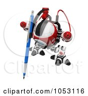 Royalty Free 3d Clip Art Illustration Of A 3d Web Crawler Robot Cam Drawing With A Pen by Leo Blanchette