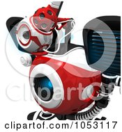 Royalty Free 3d Clip Art Illustration Of A Closeup Of A Focused 3d Web Crawler Robot Cam