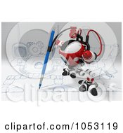 Royalty Free 3d Clip Art Illustration Of A 3d Web Crawler Robot Cam Drawing On Graph Paper