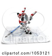 Royalty Free 3d Clip Art Illustration Of A 3d Web Crawler Robot Cam On A Sketch On Graph Paper