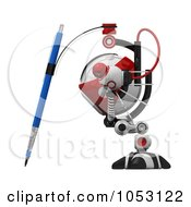 Royalty Free 3d Clip Art Illustration Of A 3d Web Crawler Robot Cam Drawing In Profile by Leo Blanchette