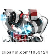 Royalty Free 3d Clip Art Illustration Of A 3d Web Crawler Robot Cam With Powered Up Jet Packs by Leo Blanchette