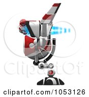Royalty Free 3d Clip Art Illustration Of A 3d Web Crawler Robot Cam In Profile With Blue Fire by Leo Blanchette