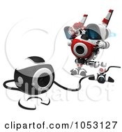 Royalty Free 3d Clip Art Illustration Of A 3d Web Crawler Robot Cam Discovering Its Roots