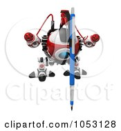 Royalty Free 3d Clip Art Illustration Of A 3d Web Crawler Robot Cam Drawing Facing Front by Leo Blanchette