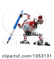 Royalty Free 3d Clip Art Illustration Of A 3d Web Crawler Robot Cam Drawing by Leo Blanchette