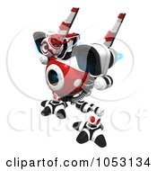 Royalty Free 3d Clip Art Illustration Of A 3d Web Crawler Robot Cam With Blue Flames On Its Jet Packs by Leo Blanchette