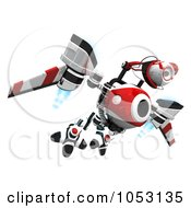 Royalty Free 3d Clip Art Illustration Of A 3d Web Crawler Robot Cam Flying High