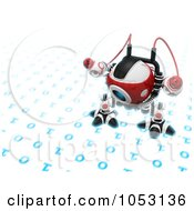 Royalty Free 3d Clip Art Illustration Of A 3d Web Crawler Robot Cam Inspecting Binary Code by Leo Blanchette