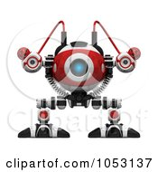 Royalty Free 3d Clip Art Illustration Of A 3d Web Crawler Robot Cam Facing Front by Leo Blanchette