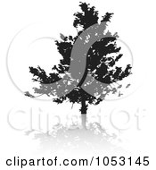 Royalty Free Vector Clip Art Illustration Of A Black Tree Silhouette And Reflection 6 by KJ Pargeter