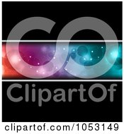 Royalty Free Vector Clip Art Illustration Of A Black Background With A Colorful Bokeh Light Banner