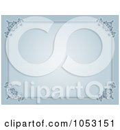 Royalty Free Vector Clip Art Illustration Of A Blue Background With An Ornate Certificate Border