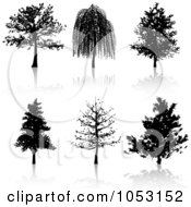 Royalty Free Vector Clip Art Illustration Of A Digital Collage Of Black Tree Silhouettes And Reflections by KJ Pargeter