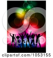 Royalty Free Vector Clip Art Illustration Of A Background Of Silhouetted Dancers Over Colorful Bokeh Lights