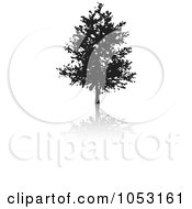 Royalty Free Vector Clip Art Illustration Of A Black Tree Silhouette And Reflection 3