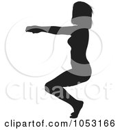 Royalty Free Vector Clip Art Illustration Of A Black Silhouetted Yoga Pose Woman 2