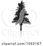 Royalty Free Vector Clip Art Illustration Of A Black Tree Silhouette And Reflection 4