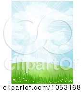 Royalty Free Vector Clip Art Illustration Of The Sun Shining Down Over Spring Hills Grass And Flowers