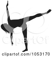 Royalty Free Vector Clip Art Illustration Of A Black Silhouetted Yoga Pose Woman 5