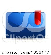 Royalty Free 3d Vector Clip Art Illustration Of A Glossy 3d Blue Icon With A Red Ribbon