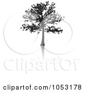 Royalty Free Vector Clip Art Illustration Of A Black Tree Silhouette And Reflection 1
