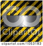 Royalty Free Vector Clip Art Illustration Of A Metal Plate Over A Grungy Hazard Stripe Background