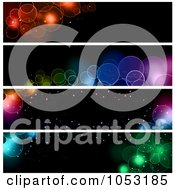 Royalty Free Vector Clip Art Illustration Of A Digital Collage Of Black Website Banners With Bokeh Lights