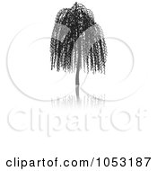 Royalty Free Vector Clip Art Illustration Of A Black Tree Silhouette And Reflection 2 by KJ Pargeter