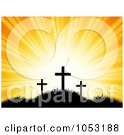 Royalty Free Vector Clip Art Illustration Of An Orange Sky Shining Behind Silhouetted Easter Crosses by KJ Pargeter