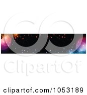 Royalty Free Vector Clip Art Illustration Of A Black Website Banner With Colorful Bokeh Lights And Orbs