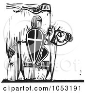 Royalty Free Vector Clipart Illustration Of A Black And White Woodcut Styled Knight On Horseback