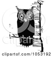 Royalty Free Vector Clipart Illustration Of A Black And White Woodcut Styled Perched Owl