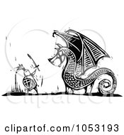 Royalty Free Vector Clipart Illustration Of A Black And White Woodcut Styled Knight Fighting A Dragon by xunantunich
