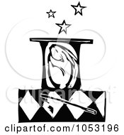Royalty Free Vector Clipart Illustration Of A Black And White Woodcut Styled Bunny In A Magic Hat
