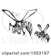 Royalty-Free Vector Clipart Illustration Of Black And White Woodcut Styled Wasps