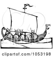 Royalty Free Vector Clipart Illustration Of A Black And White Woodcut Styled Viking Ship by xunantunich