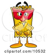 Clipart Picture Of A Yellow Admission Ticket Mascot Cartoon Character Wearing A Red Mask Over His Face