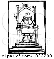 Royalty Free Vector Clipart Illustration Of A Black And White Woodcut Styled King At His Throne by xunantunich