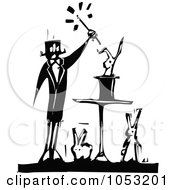 Royalty Free Vector Clipart Illustration Of A Black And White Woodcut Styled Magician And Rabbits