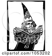 Royalty Free Vector Clipart Illustration Of A Black And White Woodcut Styled Wizard And Magic Book by xunantunich