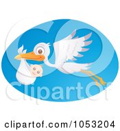 Royalty Free Vector Clip Art Illustration Of A Stork In Flight With A Baby Over A Blue Oval