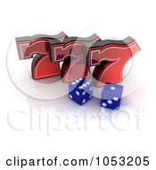 Royalty Free 3d Clipart Illustration Of Two 3d Blue Dice And Red Lucky Sevens 777