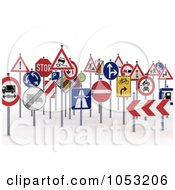 Royalty Free 3d Clipart Illustration Of A Crowd Of 3d Traffic Signs by stockillustrations