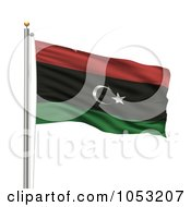 Royalty Free 3d Clipart Illustration Of A 3d Flag Of Libya Waving On A Pole by stockillustrations