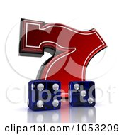 Royalty Free 3d Clipart Illustration Of Two 3d Blue Dice And A Red Lucky Seven 7