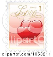 3d Red Hearts Postal Stamp